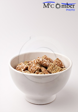 Bowl of frosted wheat cereal