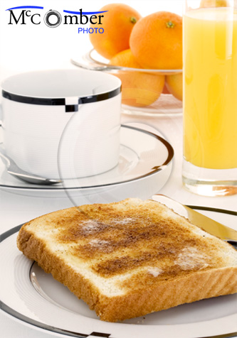 Breakfast with toast and orange juice