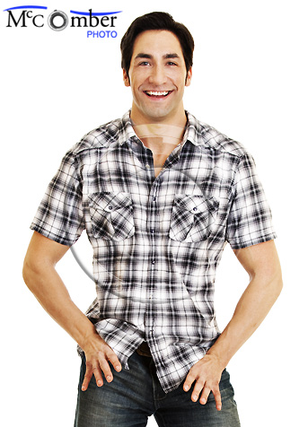 Western dressed attractive man dancing