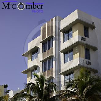 Art deco upper facade in Miami Beach