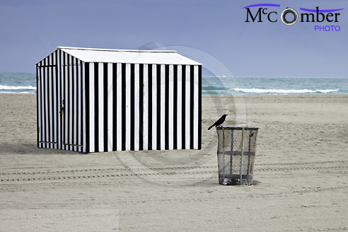 striped beach shed on Miami Beach