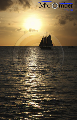Key West sunset with sailboat silhouette