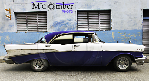 Vintage blue car in Cuban street
