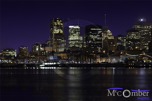 Montreal skyline at night HDR