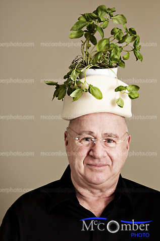 Portrait with a basil plant