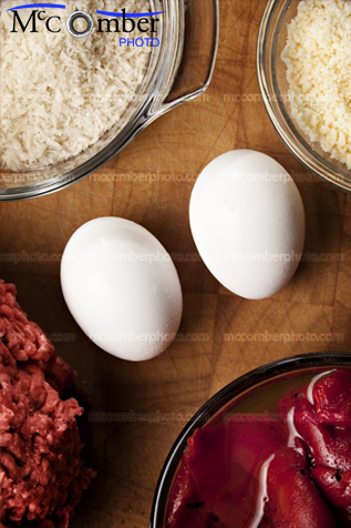 Two eggs and other meatball ingredients