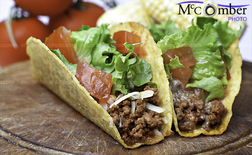 Beef tacos with corn and tomatoes