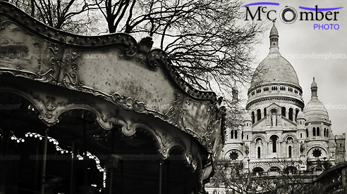 Stock Photograph - Paris Carousel and Sacré-Coeur