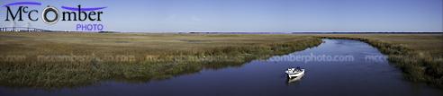 Stock photo: Georgia wetland panoramic with fishing yacht