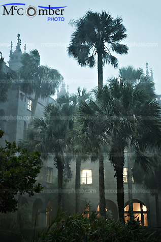 Stock photo: Tropical Rainstorm over courtyard