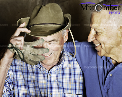 Stock photo: Senior male couple laughing at the end of the day