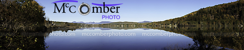 Panoramic view of a Charlevoix fishing lake in Autumn