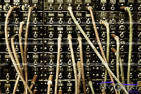 Old Telephone standard board with dangling wires