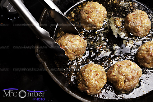 Frying meatballs in cast iron skillet