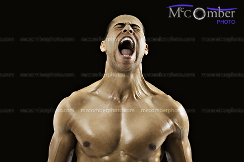 Middle-eastern Muscular Man Screaming at the top of his lungs