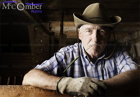 Stock Photo Serious senior farmer in barn