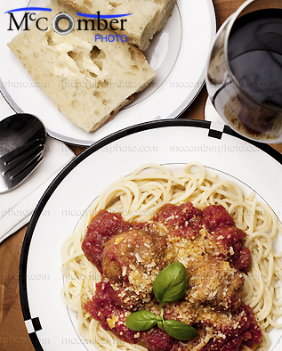 Stock photo: Spaghetti with meatballs meal vertical from above