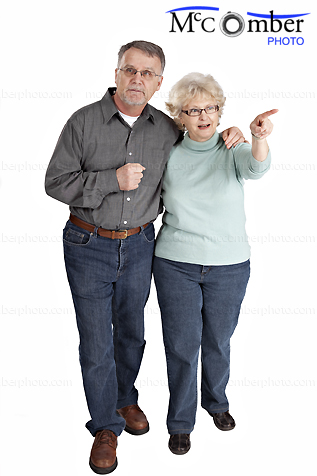 Stock photo: Isolated Senior couple sightseeing in casual clothes