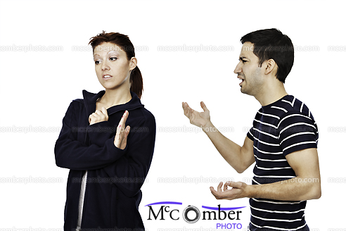 Stock Photo: Young Couple Arguing Isolated on White