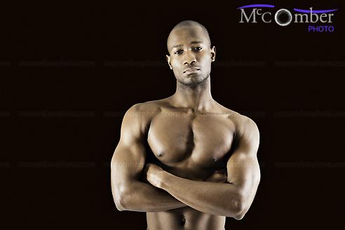 Stock photo: Shirtless Muscular Black Man Arms Crossed