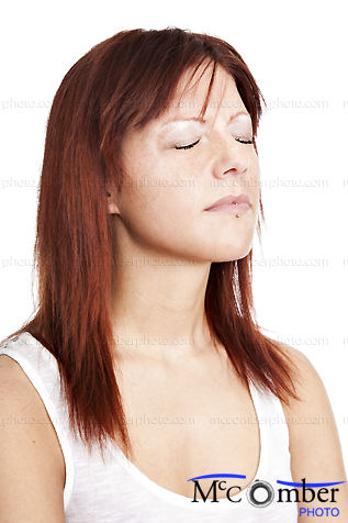Stock photo: Young Redhead Woman Suffering Eyes shut