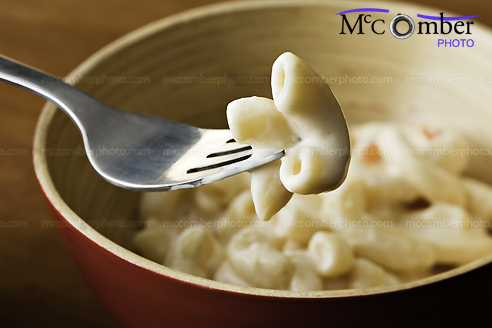 Stock photo: Forkful of Macaroni Salad