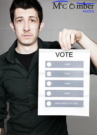 Stock Photo: Voter frustrated by Democracy is a joke concept