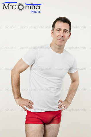 Stock photo: Mature man in t-shirt and red underwear