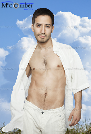Stock photo: Sexy Latino Man Walking With Blue Sky Background