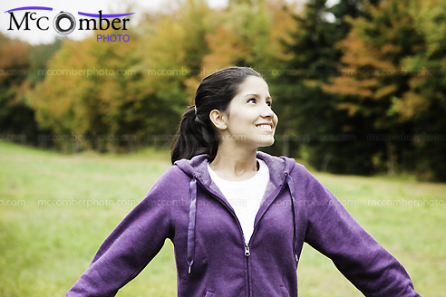 Stock Photo: Happy Hispanic Young Woman Wonders At Fall Colors