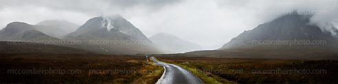 Scottish Highlands Glen Coe Panorama in Rain