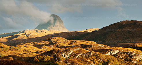 Suilven Mountain lit by Sunset