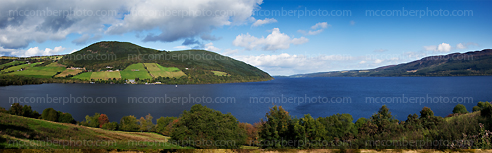 Loch Ness Panorama on a sunny day