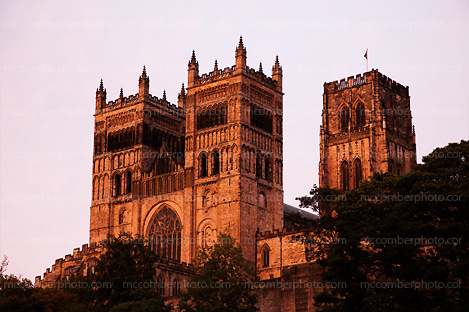 Durham Cathedral lit by sunset