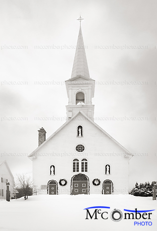 Stock Photograph: Christmas-Ready Small Country Church