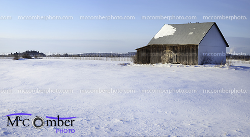 Stock Photograph: Quebec Winter Landscape featuring a barn