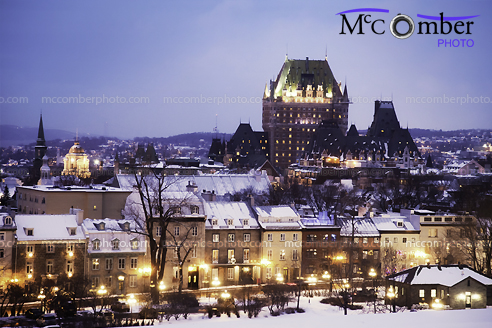 Stock Photograph: Old Quebec City on a Winter Night