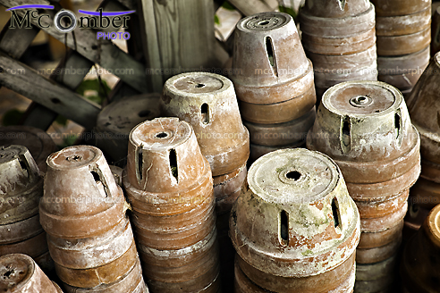 Stock Photograph - Stored Clay pots in shed