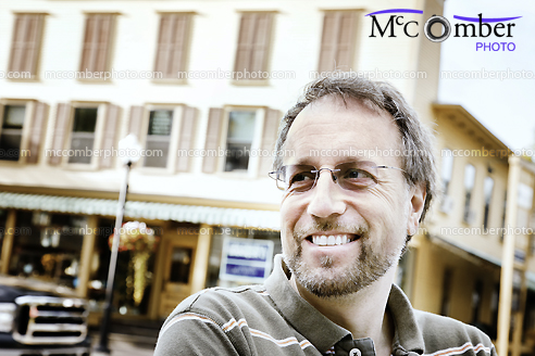 Stock Photograph - Candid Mature Man Smiling in Stowe