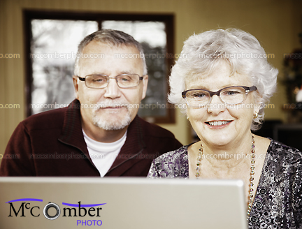 Stock Photograph - Senior Couple Enjoying the Internet