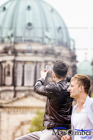 Stock Photograph - Young male tourists in Berlin