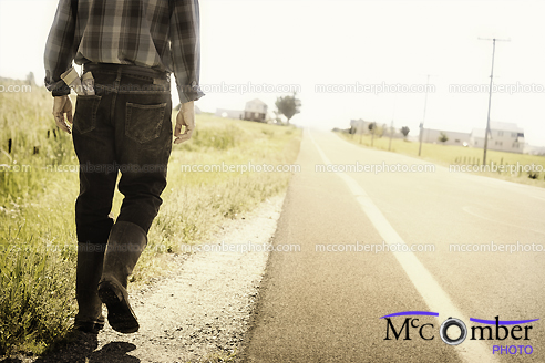 Stock Photograph - Walking by the roadside