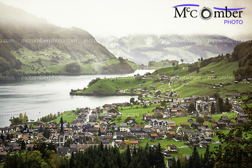 Stock Photo: First Snow Over Lungern Switzerland