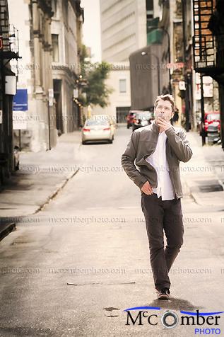 Stock Photo - Mature man visiting Old Montreal
