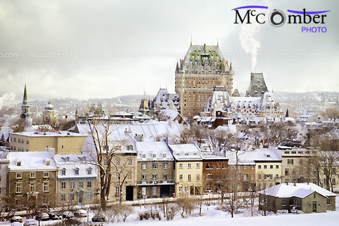 Stock Photo: Quebec City Winter Skyline with Chateau Frontenac