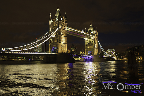 Stock Image - London Tower Bridge at Night East View