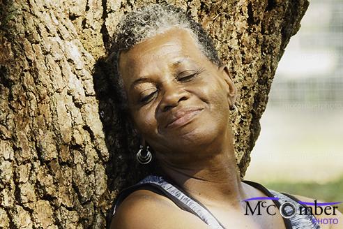 Black woman enjoying the sun - detail