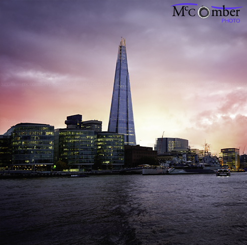 Stock Image: Sunset behind the London Shard