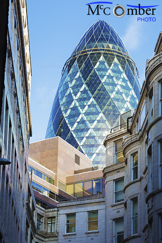 Stock Image: London Gherkin and older buildings