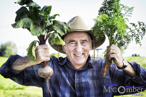 Stock Image: Senior farmer shows off his organic beets and carrots